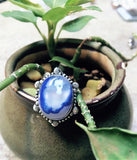 Blue Natural Cut Stone Ring