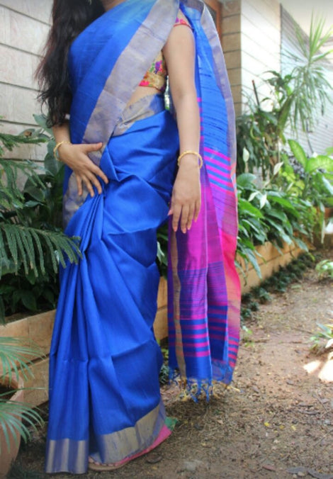 blue with pink rawsilk saree with bavanji border