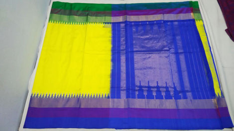 Yellow and blue  ikkat silk saree with contrast border