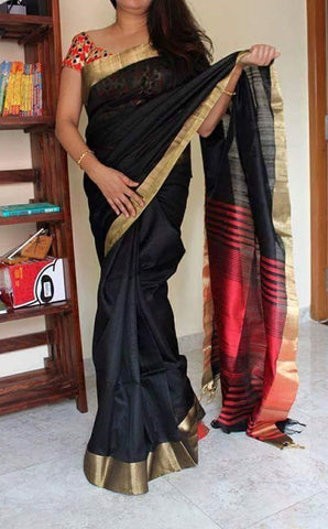 charcoal black with red rawsilk saree with bavanji border