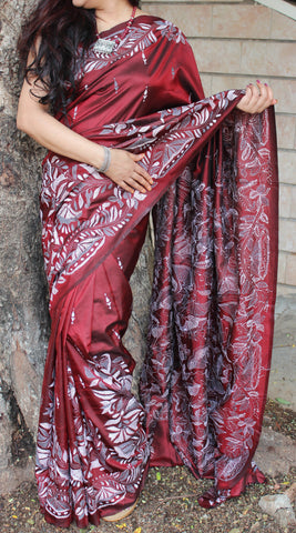 cherry red kantha silk saree
