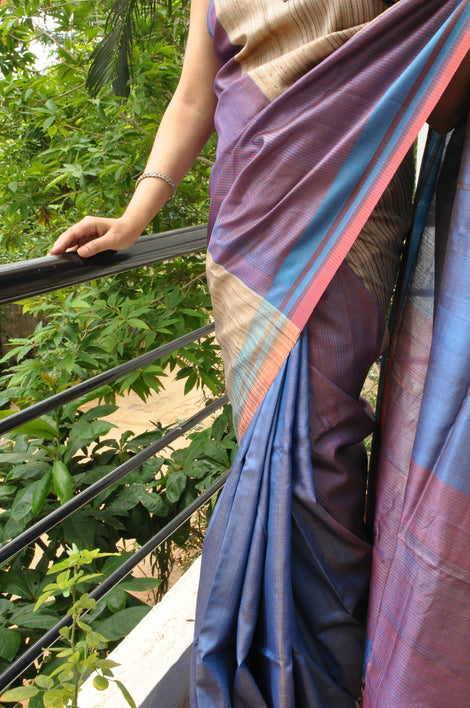 Tri-colour block tussar silk saree