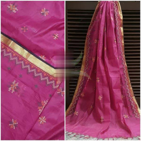 Lotus Pink South Cotton Dupatta with Kasuti work