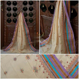 Cream Color South Cotton Dupatta with Kasuti work