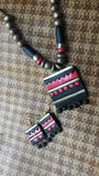 combination of black and pink handmade terracotta jewellery set