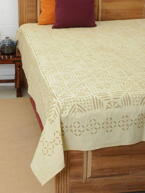 cream color applique work bed cover
