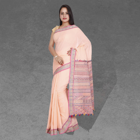 light peach handloom ilkal saree