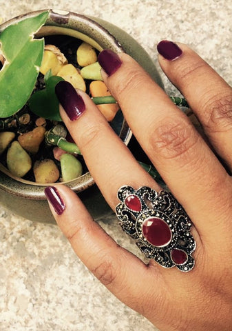 dark pink natural cut stone ring