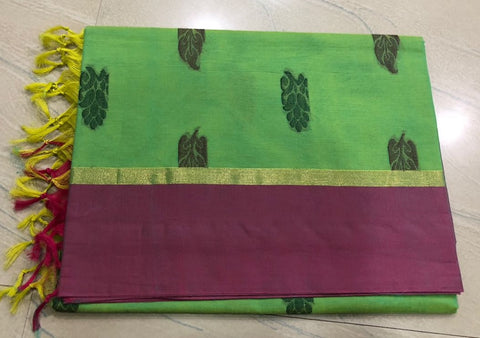 Pista Green Color Pure Kanchi Cotton Saree with variants