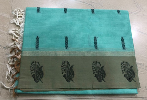 Sea Blue Color Pure Kanchi Cotton Saree
