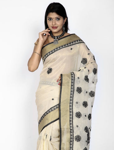 Off-white with black chkankari kota cottonsilk saree