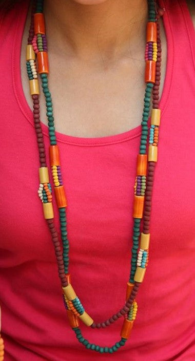 double layered multibeads necklace