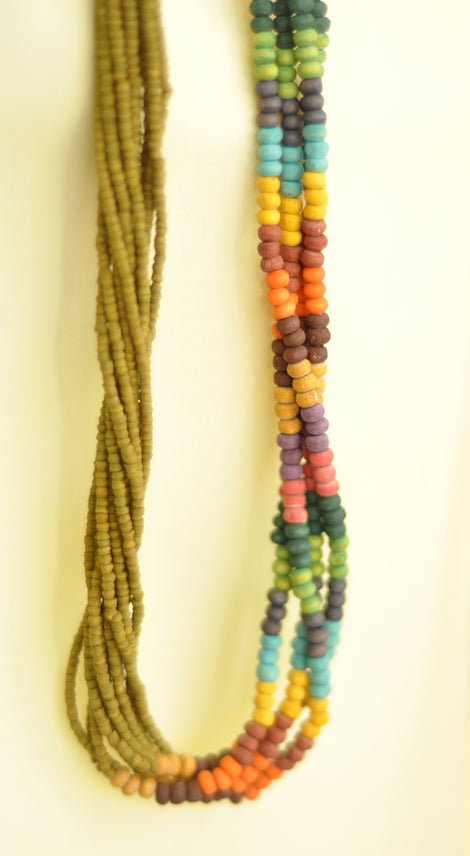 exotic twisted multibeads necklace