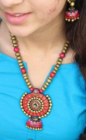 exotic terracotta handcrafted necklace with jhumkas