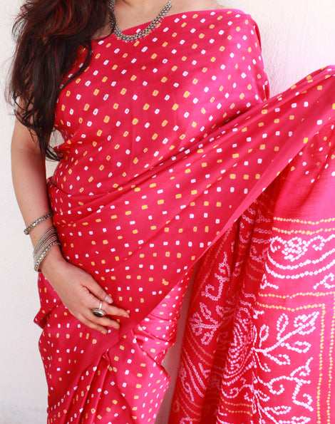 Glassy gajji silk bandhini saree