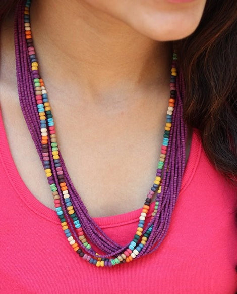 grape purple twisted multibeads necklace