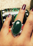Green Big Natural Cut Stone Ring