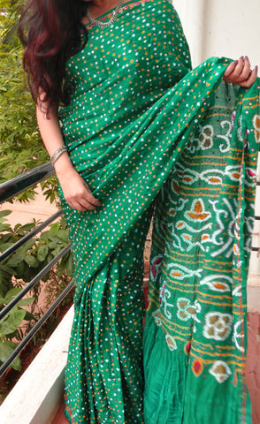 Green gajji silk bandhini saree