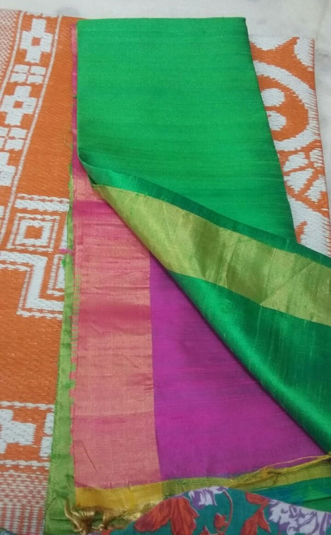 green with pink rawsilk saree with bavanji border