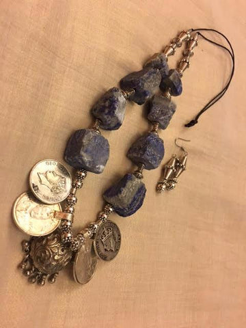 Agates with old coins and Tibetan silver findings