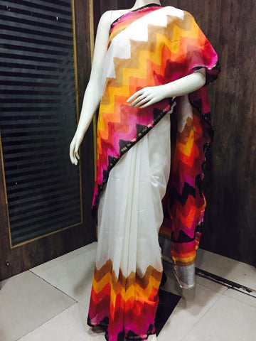 white with multicolor hues Chanderi cotton silk Saree