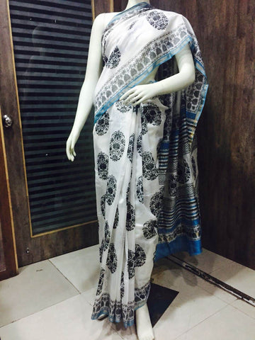 White with sea blue chakra Chanderi cotton silk Saree