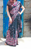 Black kantha silk saree