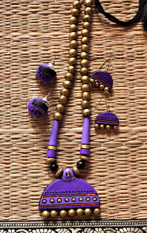 lavender handcrafted terracotta necklace set with two pairs of earring