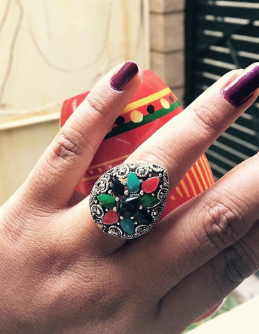 multi color natural cut stone ring