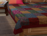 multicolored khadi bed cover