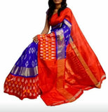 ocean blue with bright red ikkat silk saree