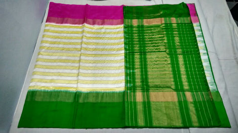 off-white  ikkat silk saree with contrast border