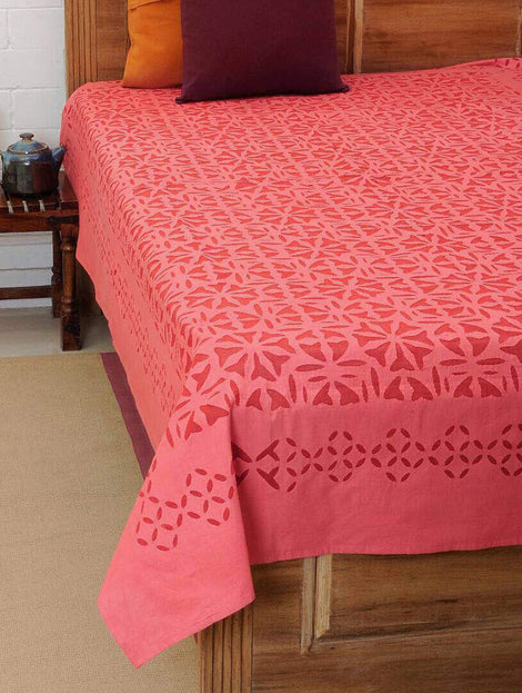 peach applique work bed cover