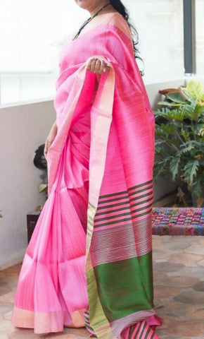 pink with green rawsilk saree with bavanji border