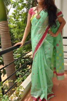 Pista Green Handwoven Chanderi Tissue Saree
