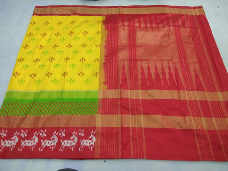 Turmeric yellow pochampally pure ikkat silk saree