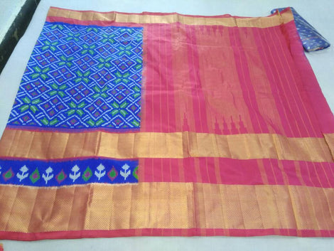 Navy Blue pochampally pure ikkat silk saree