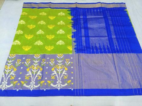 Parrot green pochampally pure ikkat silk saree