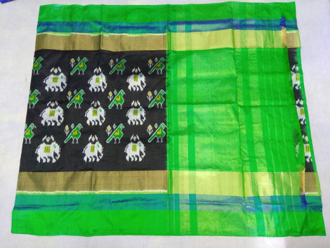Black pochampally pure ikkat silk saree