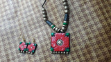 red handmade terracotta jewellery set