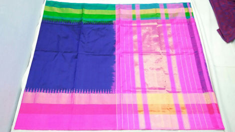 royal blue  ikkat silk saree with contrast border