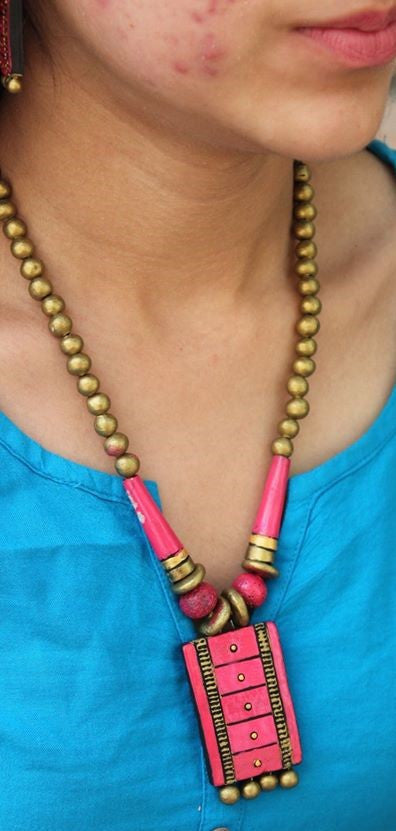 rustic terracotta handcraftednecklace with 2 pairs of earring