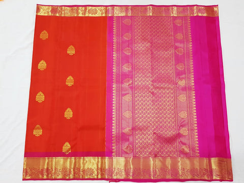 Salamander orange with  zari pallu Kanjeevaram Silk Saree