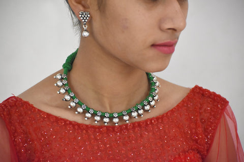 Small beads necklace in green dhori with earrings