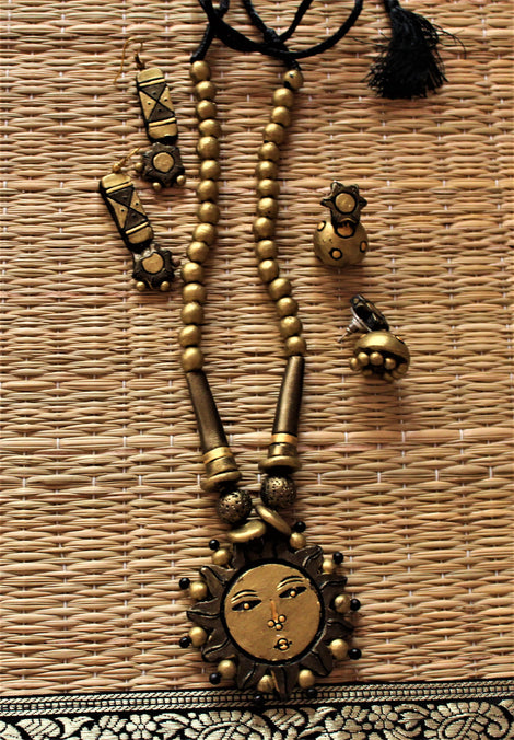 sun  handcrafted terracotta necklace set with two pairs of earring