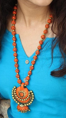 trendy terracotta handcraftednecklace with jhumkas