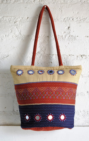 tricolored hand embroidered bag