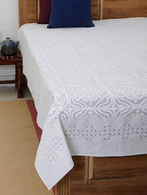 white applique work bed cover
