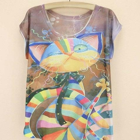 Multicolor Cat T-shirt