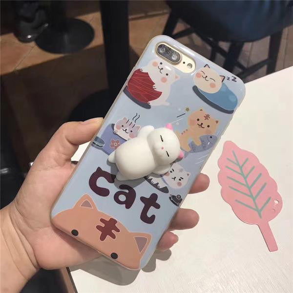 3D Soft Silicone Squishy Cat Phone Case
